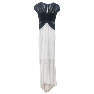 Zuhair Murad Black & White Sheer Panel Fitted Gown
