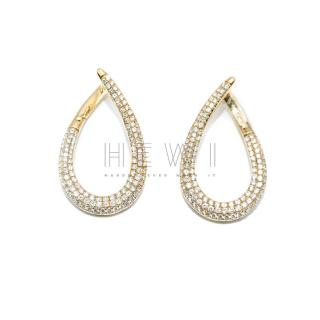 Bespoke 18ct Yellow Gold Pave Diamond Set Hoop Earrings