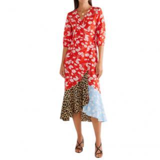 Rixo Multi-Print Limited Edition Silk Wrap Midi Dress