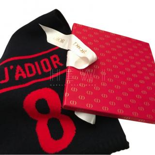 Dior Black & Red Cashmere C'est Non Scarf
