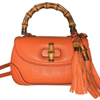 Gucci Orange Bamboo Top Handle Shoulder Bag