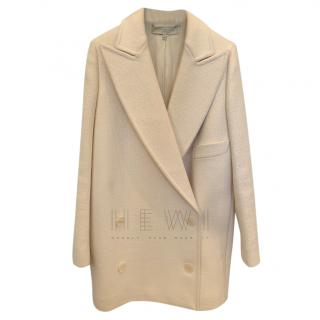 Stella McCartney double breasted cream wool pea coat