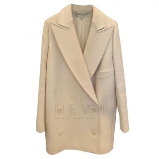 Stella McCartney double breasted cream wool pea coat