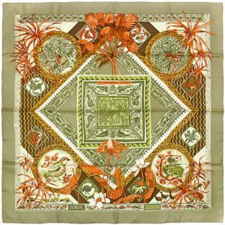Hermes Le Jardin Des Coptes Silk Scarf 90