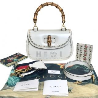 Gucci White Glossy Leather Bamboo Top Handle Bag