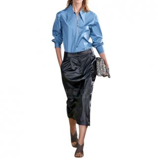 Tibi Tissue Pleated Leather Skirt