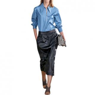 Tibi Tissue Pleated Leather Skirt