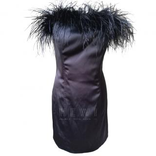 Betset johnson Black Feather Trim Strapless Dress