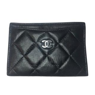 Chanel Black Lambskin CC Card Holder