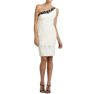 Marchesa Notte Ivory Silk One Shoulder Dress