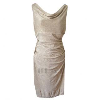 Lauren Ralph Lauren Gold Draped Mesh Dress