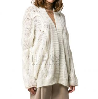 Forte Forte Cable White Mohair Cardigan