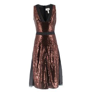 Erdem Bronze Sheer Panelled Sequin A-Line Dress