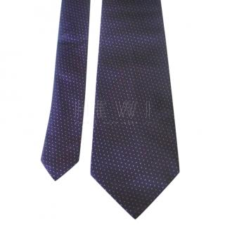 Dior Plum Purple Micro Polka Dot Silk Tie