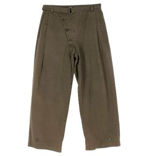 Prada Menis Khaki Crop Cotton Trousers