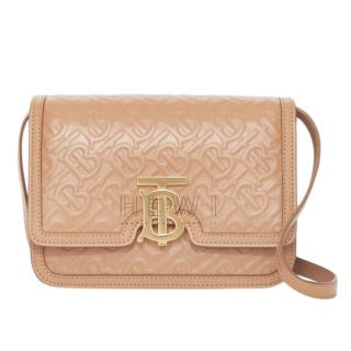 Burberry Small Monogram Leather TB Bag in Light Camel