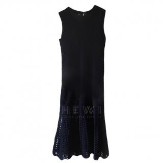 Max Mara Blue Chenile Open Knit Dress