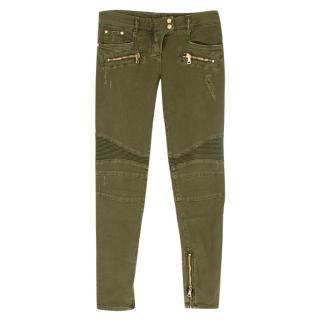 Balmain Zipped Khaki Biker Jeans