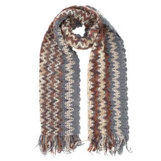 Missoni Knit Wool Blend Zig Zag Scarf