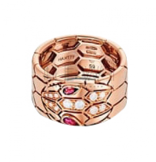 Bvlgari Serpenti diamond & rubellite 18k Rose Gold Ring