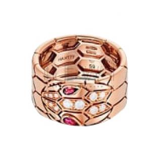 Bvlgari Serpenti diamond & rubellite 18k Rose Gold Ring