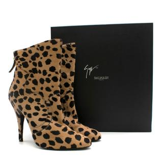 Gianvito Rossi for Balmain Leopard Print Calf Hair Ankle Boots