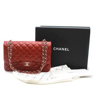 Chanel Red Caviar Leather Jumbo Double Flap Bag