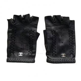 Chanel Black Leather Fingerless Gloves