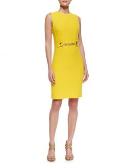 Michael Michael Kors Yellow Chain Trim Wool Dress