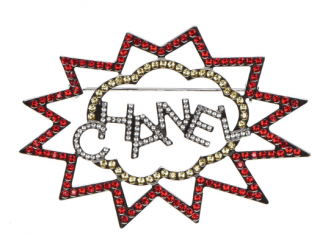Chanel Crystal Embellished Comic Brooch