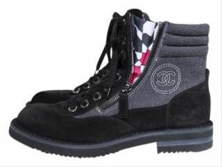 Chanel Canvas & Suede Zip Detail Combat Boots
