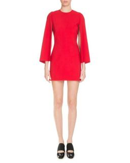 Givenchy red cape effect dress