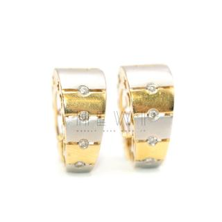 Bespoke 18ct Yellow & White Gold Diamond Hinged Hoop Earrings