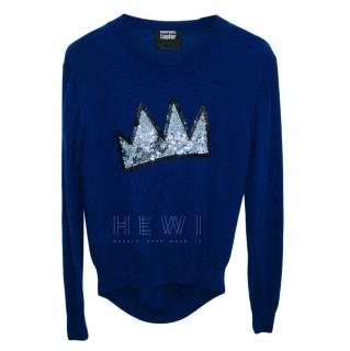 Markus Lupfer blue sequin embellished merino wool jumper