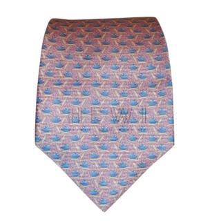 Bvlgari Pink Printed Silk Wide Tie