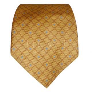 Bvlgari Yellow Printed Silk Tie