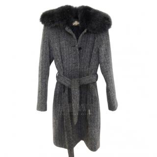 Galliano Wool, Alpaca & Mohair Belted Coat