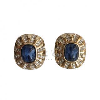 Dior Vintage Crystal & Lapis Earrings