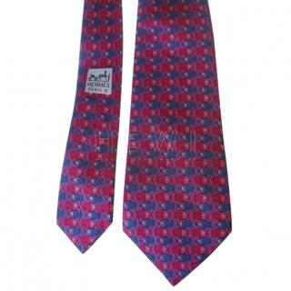 Hermes Red & Blue Printed Fish Silk Tie