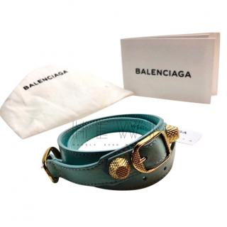 Balenciaga Pale Blue Arena Double Wrap Bracelet