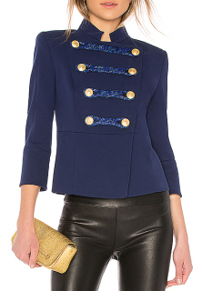 Pierre Balmain Blue Military Jacket