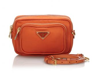Prada Orange Nylon Cross Body Bag