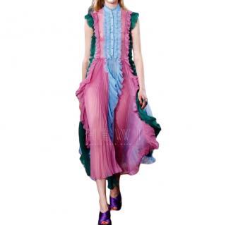 Gucci Silk Contrast Pleated Ruffle Shirt Dress