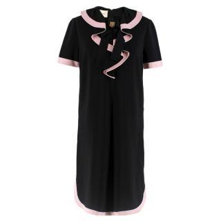 Gucci Black Ruffle Front Dress W/ Pink Trim