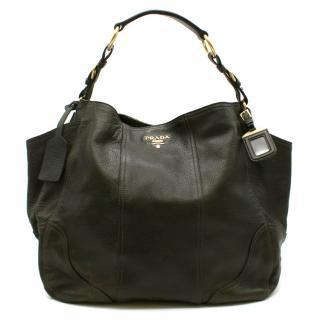 Prada Bottle Green Deerskin Shoulder Bag
