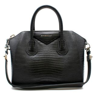 Givenchy Lizard Embossed Black Small Antigona Bag