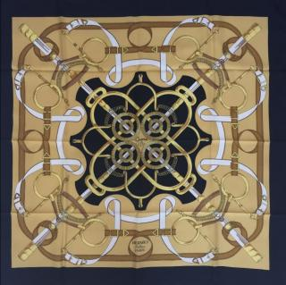 Hermes Eperon Dor Vintage Silk Scarf 90