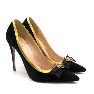 Gucci Suede Bumblebee Stiletto Pumps