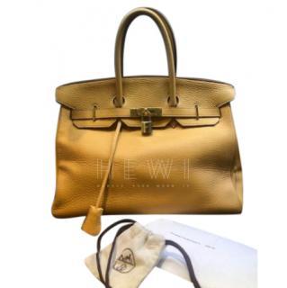 Hermes Natural Sable Clemence Leather 35cm Birkin
