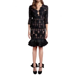 Johanna Ortiz Black Manila Floral Applique Dress